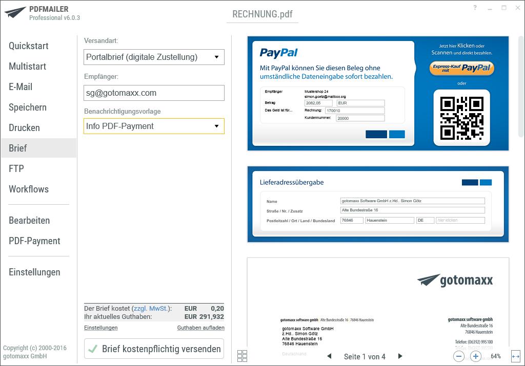 Pdfmailer Brief Portalbrief Mit Pdf Payment Sw Computer Software